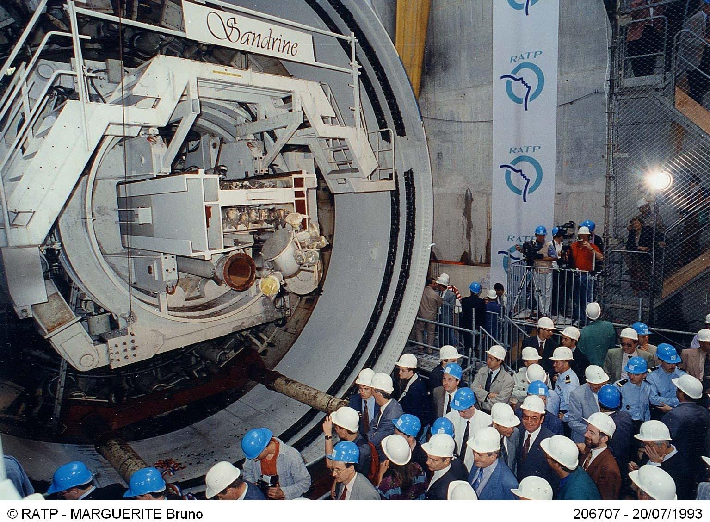Inauguration du tunnelier Sandrine au démarrage du creusement de la ligne 14, le 20 juillet 1993