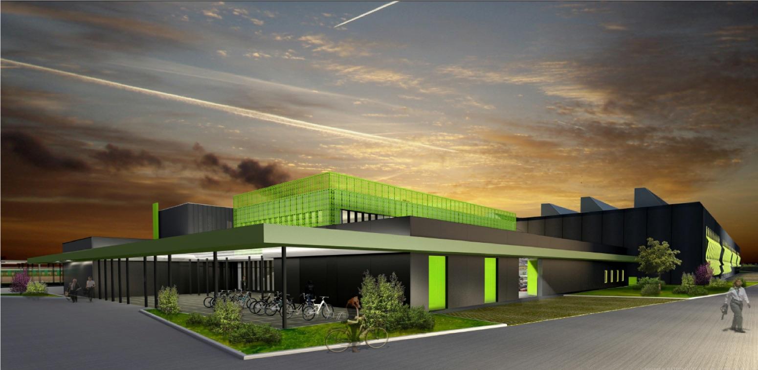 Vue du hall d'entrée en 3D du futur site de maintenance et de remisage Morangis