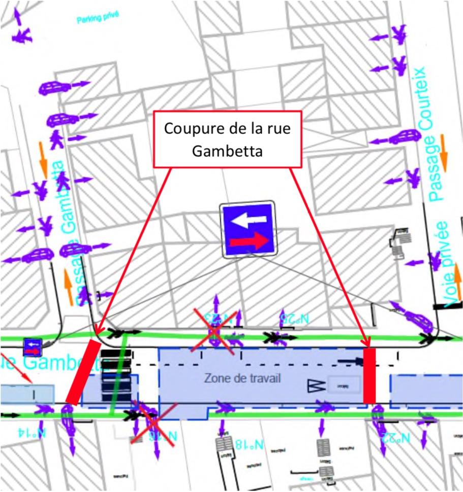 Schéma de perturbation de l'emprise de chantier rue Gambetta