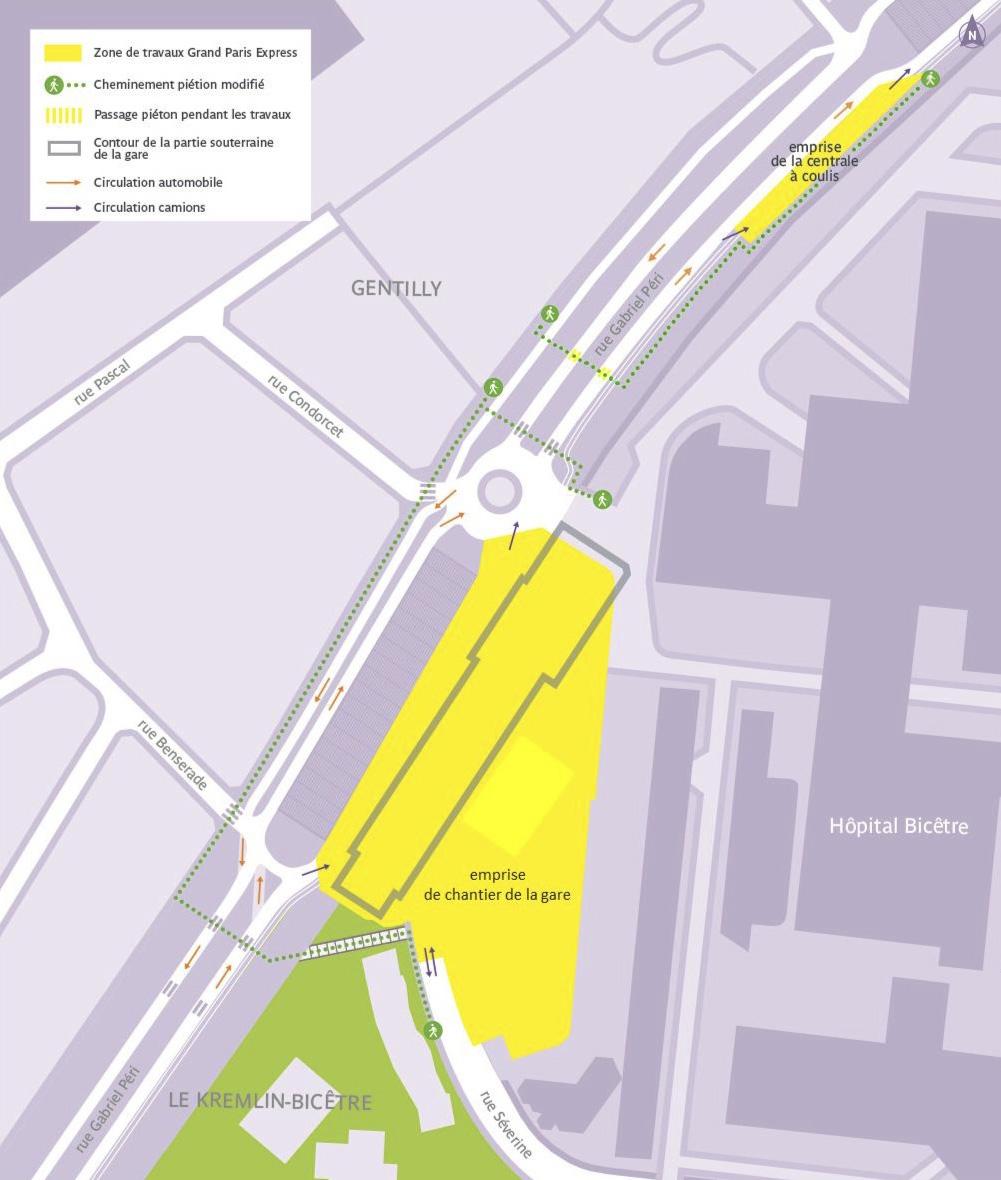 Carte illustrée de l'emprises travaux de la gare de Kremlin-Bicêtre Hôpital