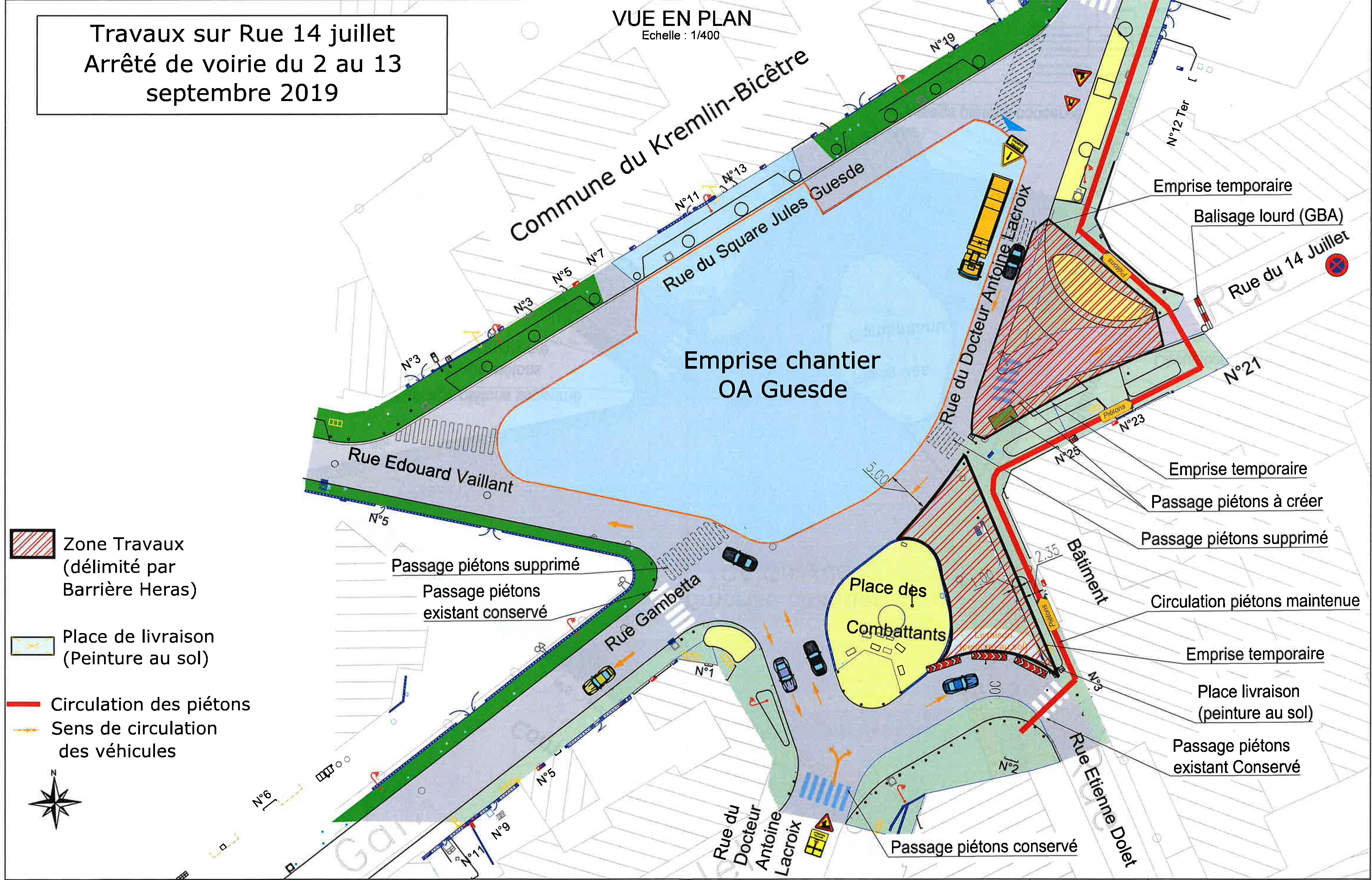 Plan des circulations routières sur la place des Combattants au Kremlin-Bicêtre