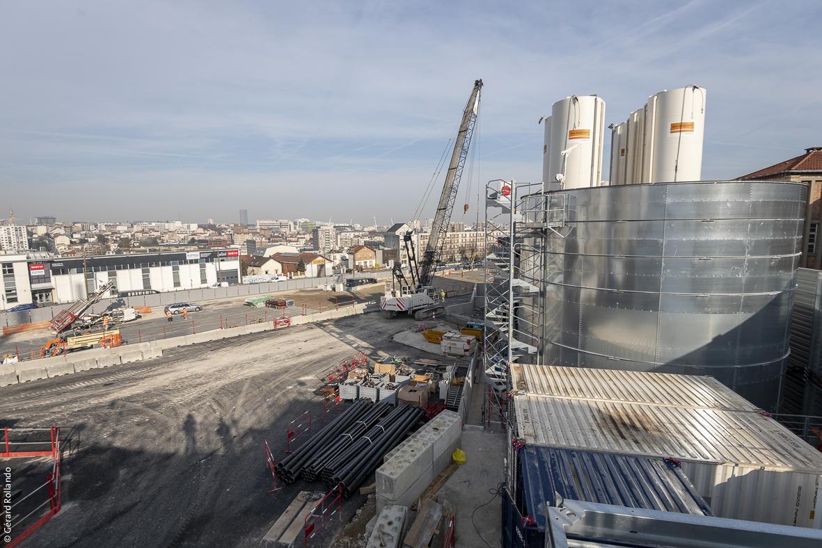 Vue d'ensemble du chantier de la future gare Kremlin-Bicêtre Hôpital photographiée en mars 2019.