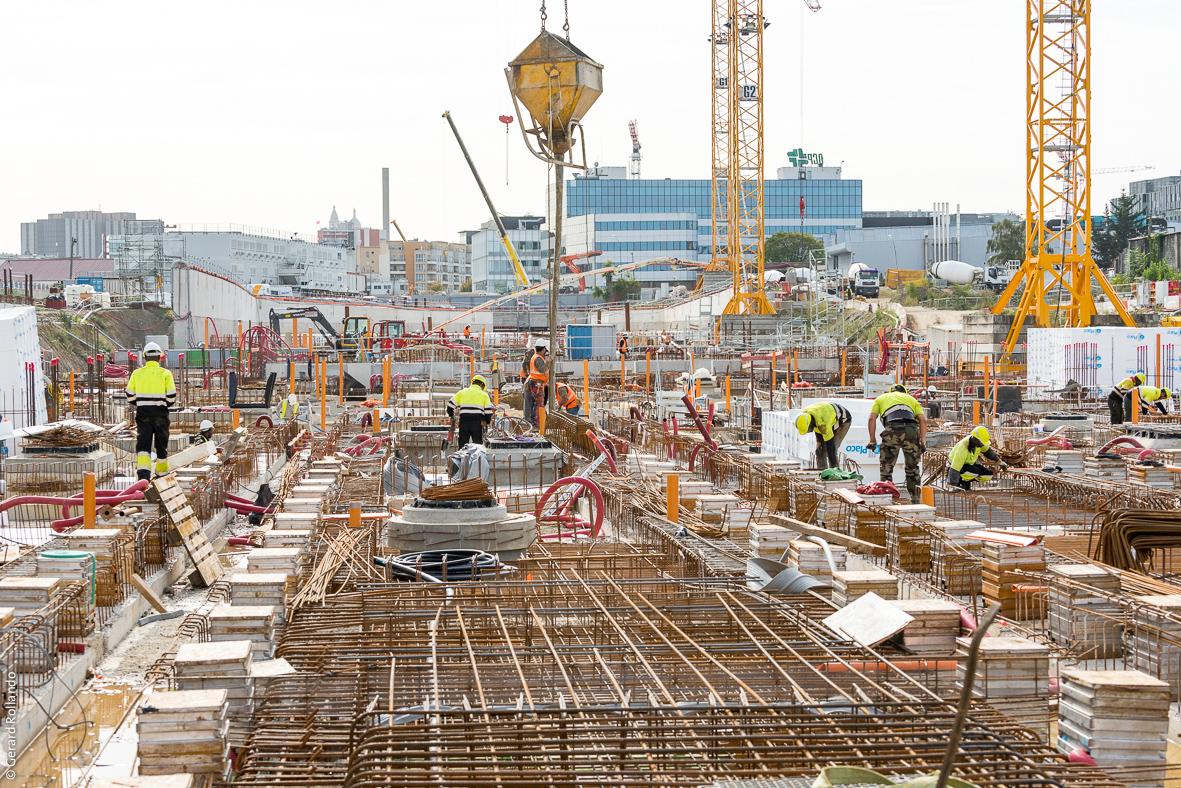 Un chantier du prolongement de la ligne 14 à Mairie de Saint-Ouen