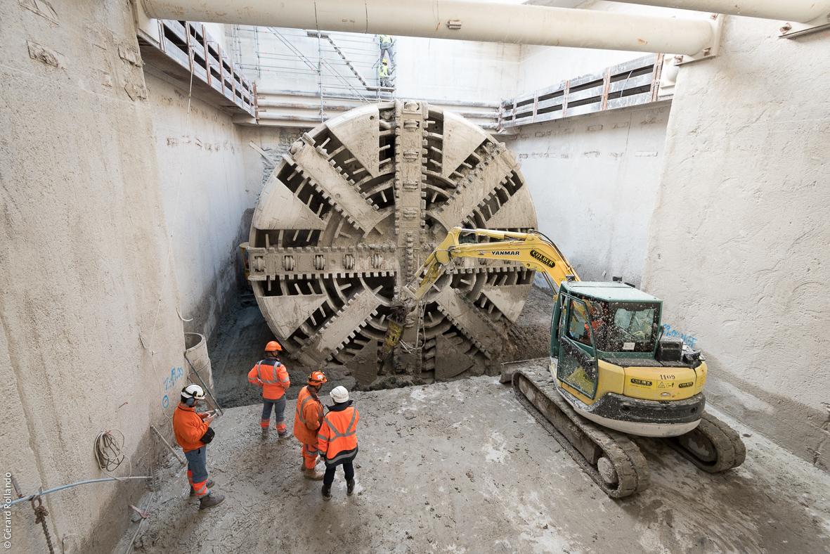 Tunnelier utilisé pour le creusement du prolongement de la ligne 14 à Mairie de Saint-Ouen.