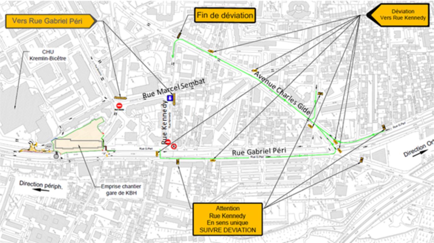 Plan schématique des déviations et stationnements supprimés rue Kennedy