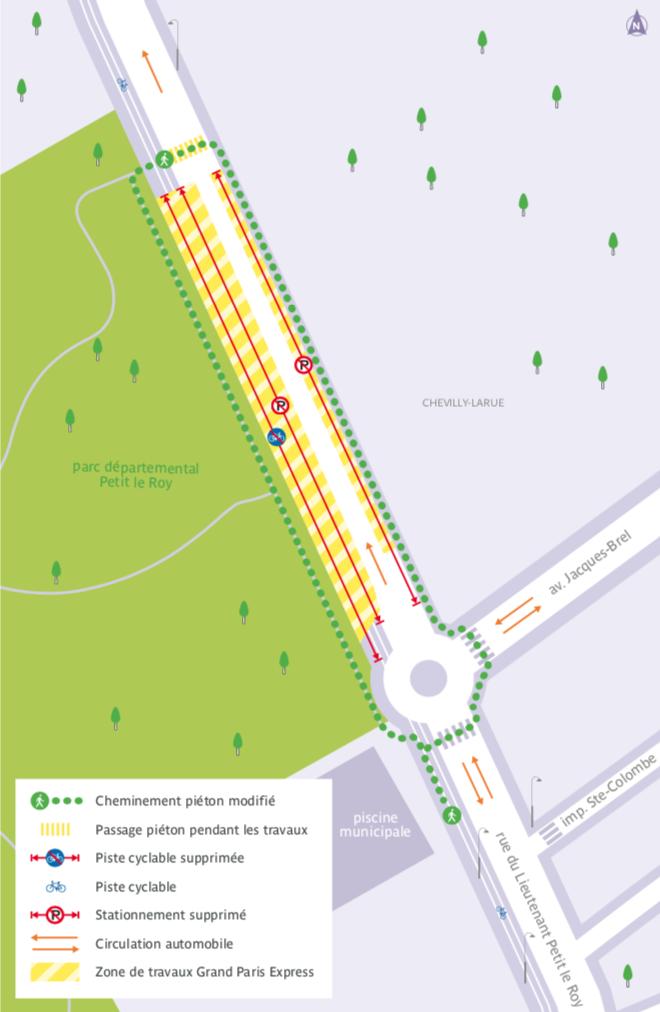 Plan de la rue du Lieutenant Petit Le Roy impactée par la modification du sens de circulation.