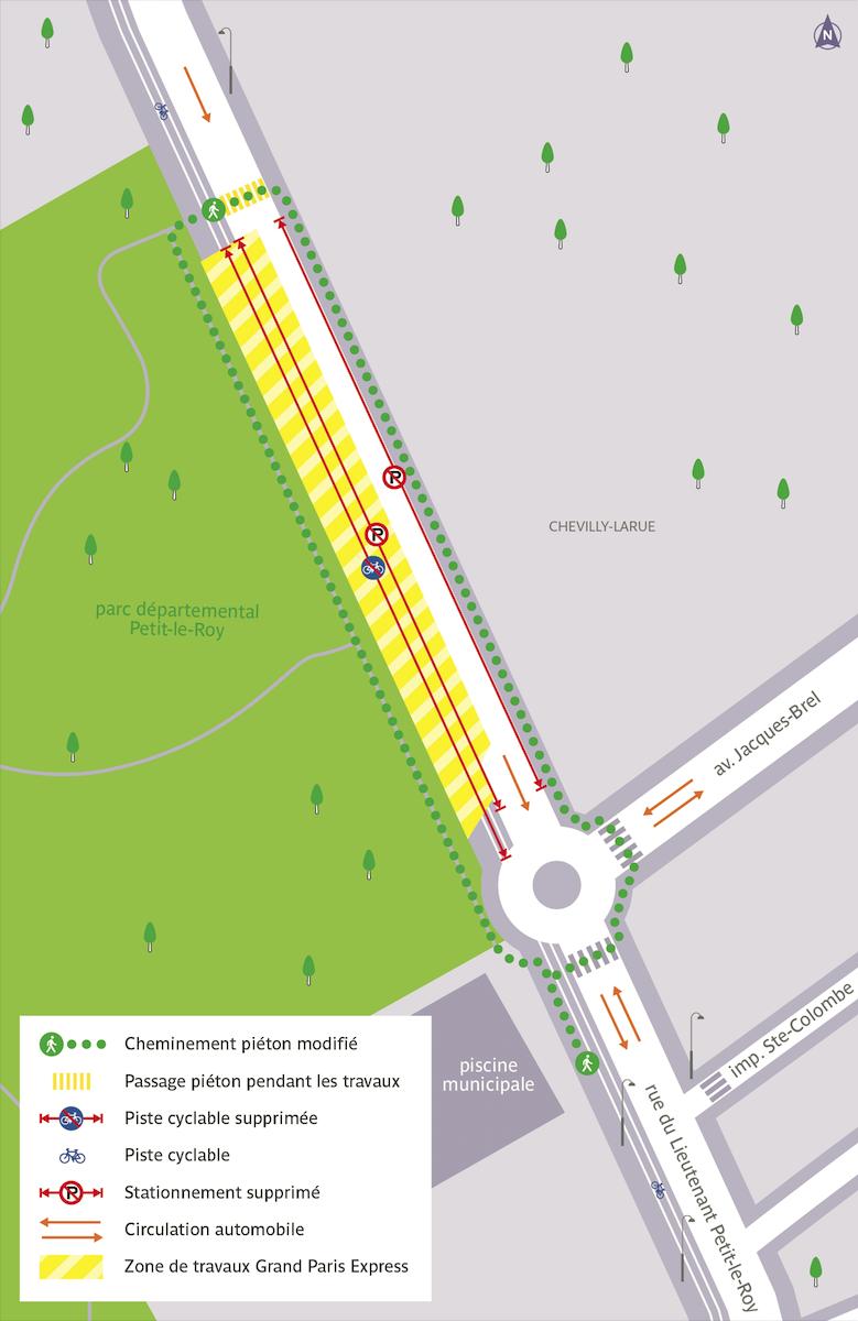Plan de la circulation routière et piétonne modifiée, rue du Lieutenant Petit-le-Roy
