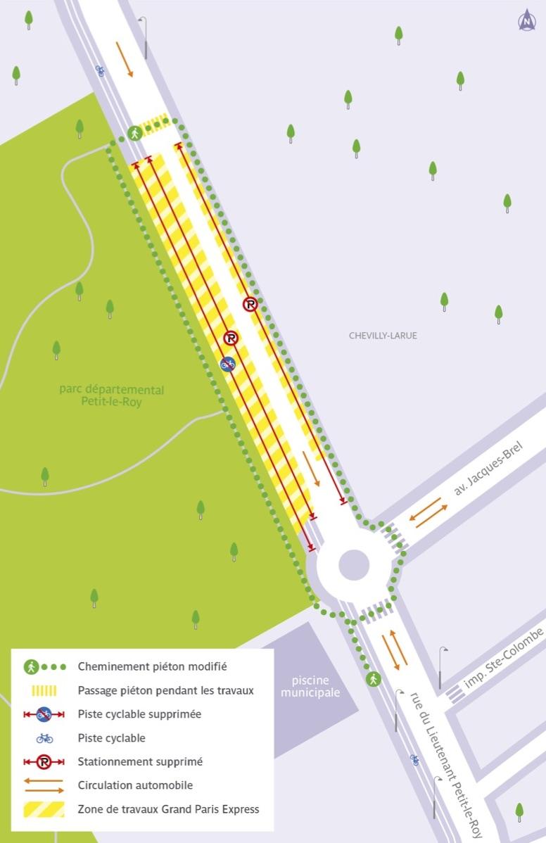 Plan illustré de la circulation routière et piétonne modifiée, rue du Lieutenant Petit-le-Roy.