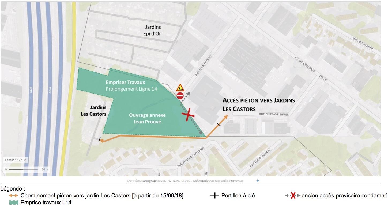Plan illustré du nouvel accès aux jardins familiaux « Les Castors » depuis la rue Gustave Eiffel.