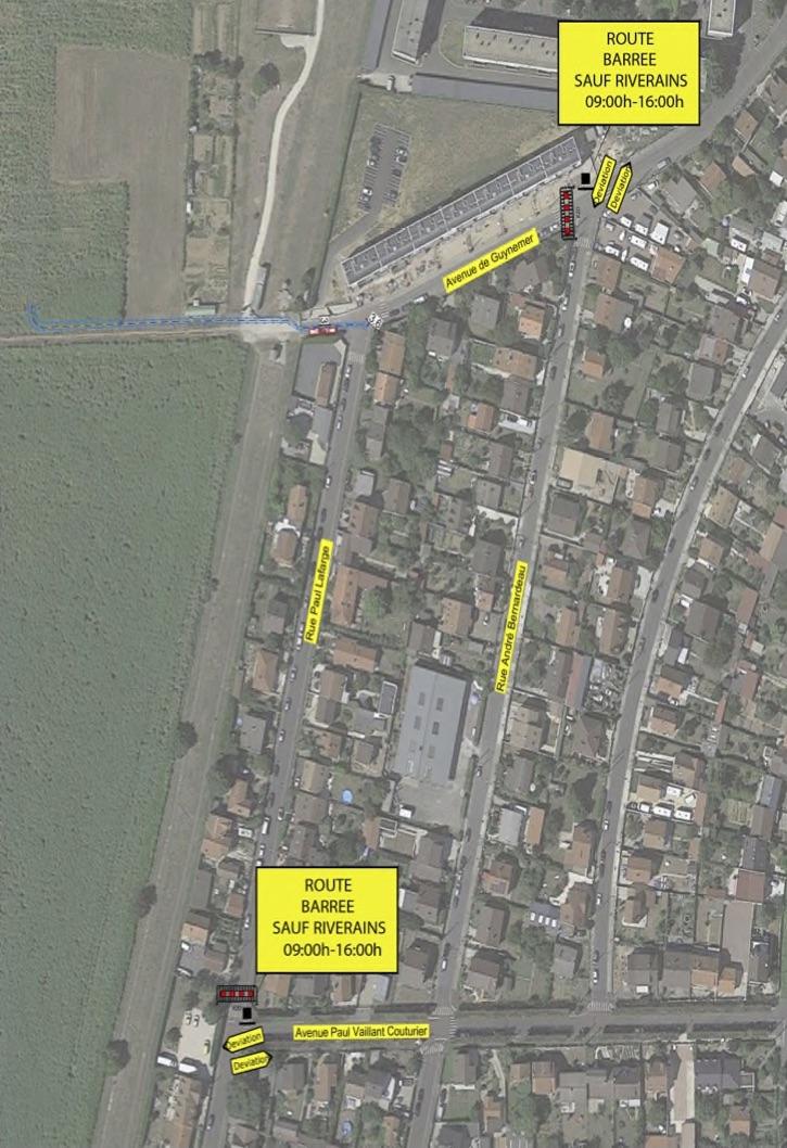 Plan de circulation de la rue Paul Lafargue et de l'avenue Guynemer :