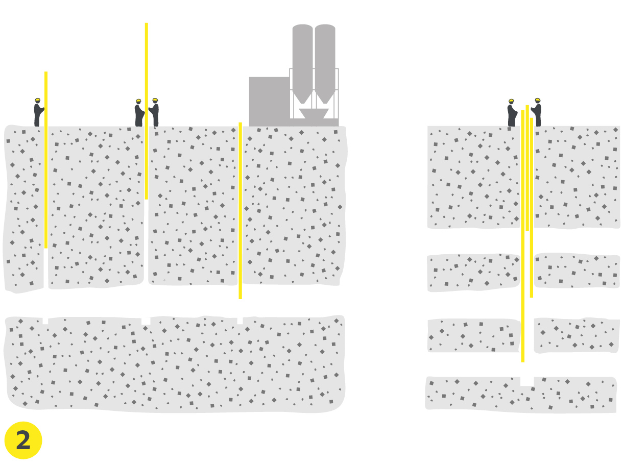 Schéma des tubes PVC introduits dans les forages + Schéma des carrières à plusieurs niveaux