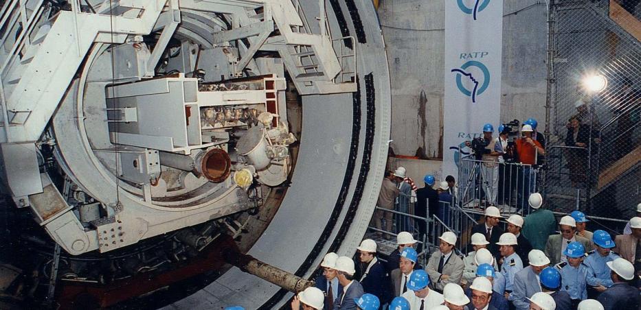 Inauguration du tunnelier Sandrine au démarrage du creusement de la ligne 14, le 20 juillet 1993.