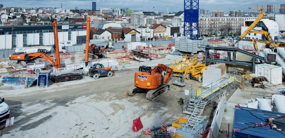 Photo du chantier de la gare Kremlin-Bicêtre Hôpital en mars 2020