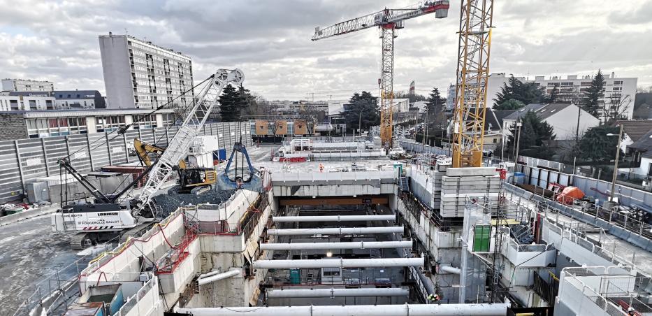 Photo du chantier de la gare Chevilly Trois-Communes en février 2020