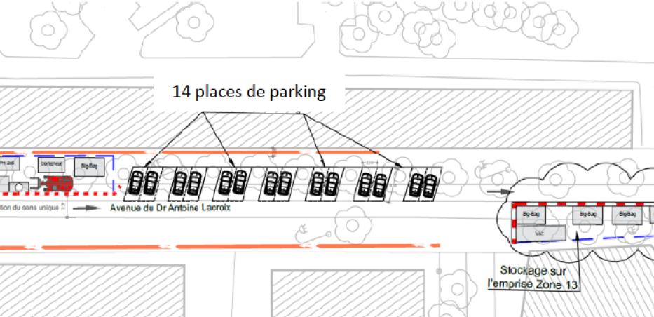 Plan des stationnements aux abords des chantiers du comblement des carrières, avenue du Docteur Antoine Lacroix
