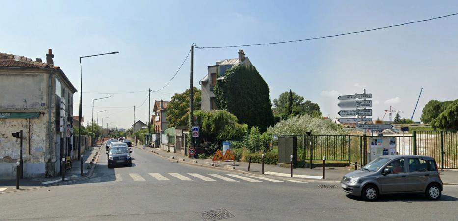 Photo de la rue de Verdun à Villejuif prise depuis le carrefour au croisement de l'avenue du Président Allende
