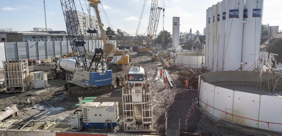 Vue d'ensemble du chantier de la future gare Chevilly Trois-Communes (février 2019)