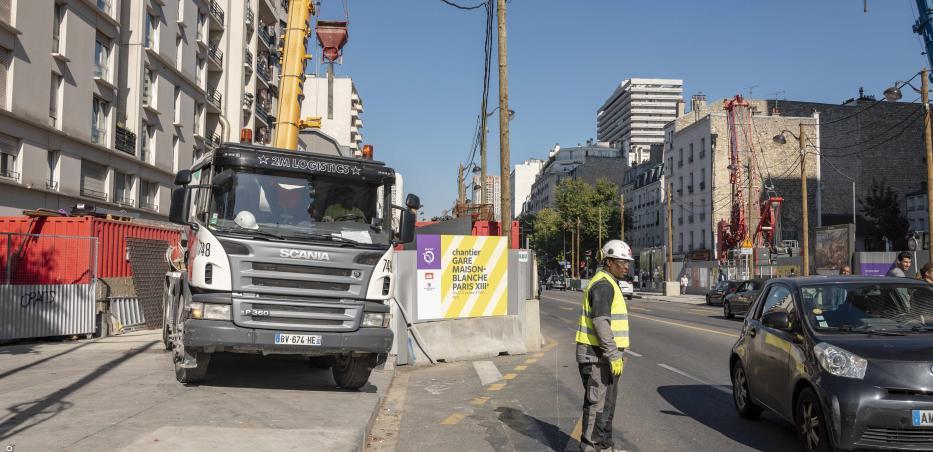 Photo du chantier de la gare Maison-Blanche Paris XIIIè