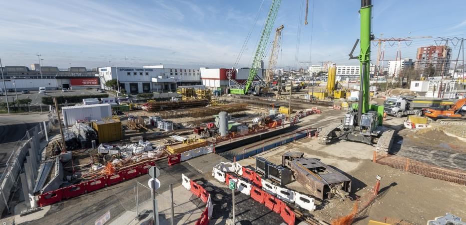 Photo du chantier de la gare M.I.N. Porte de Thiais