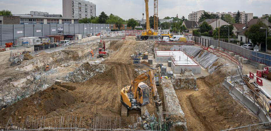 Photo du chantier de la future gare Chevilly Trois-Communes