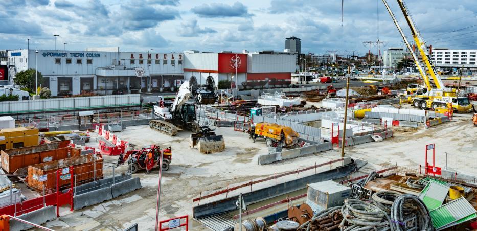 Photo du chantier de la gare M.I.N. Porte de Thiais en mars 2020
