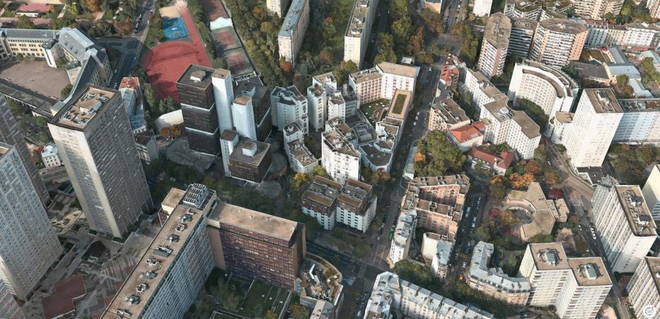 Vue aérienne de la rue Nationale, la rue de Tolbiac et la rue des Hautes Formes