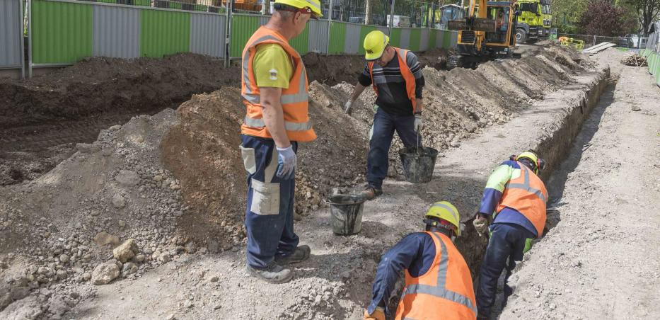 Exemple de travaux de raccordements à un réseau d'eau existant.