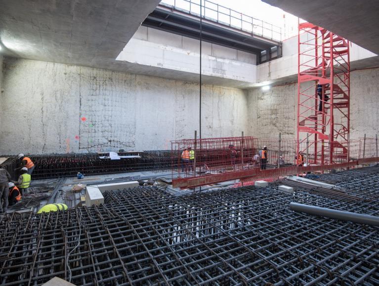 Réalisation des paliers de la future gare
