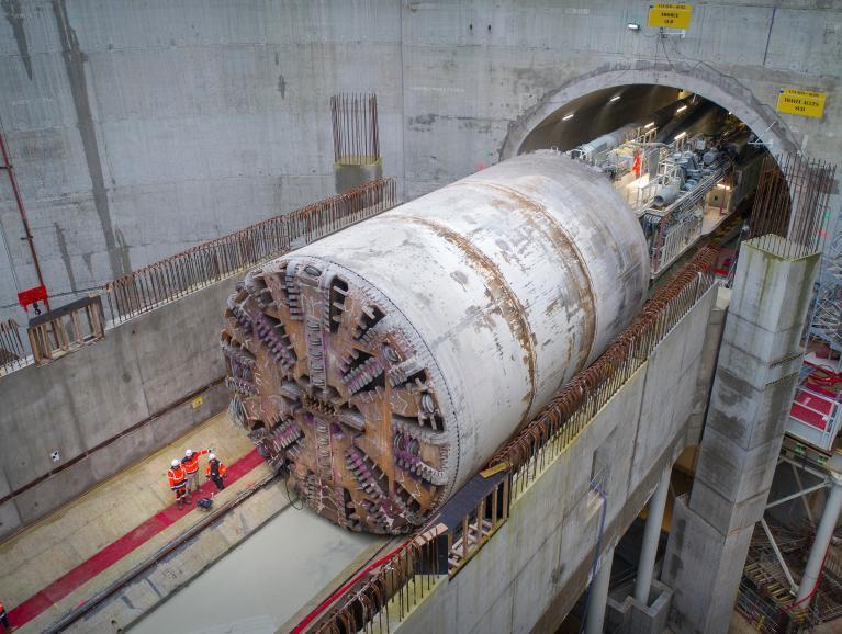 Ripage du tunnelier Allison du tympan sud de la future gare au tympan nord