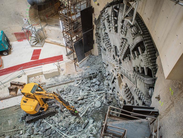 Arrivée du tunnelier Allison sur le chantier du futur ouvrage de service