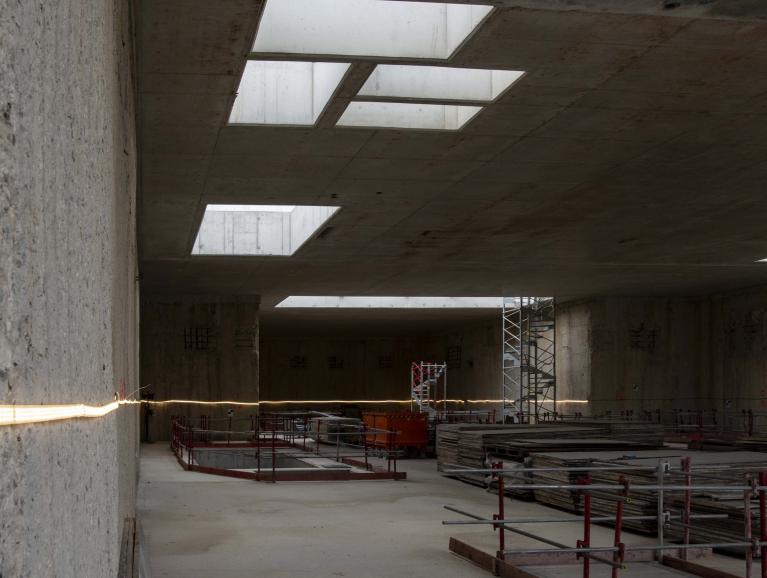 Au niveau intermédiaire de la future gare Pont de Rungis, en août 2020