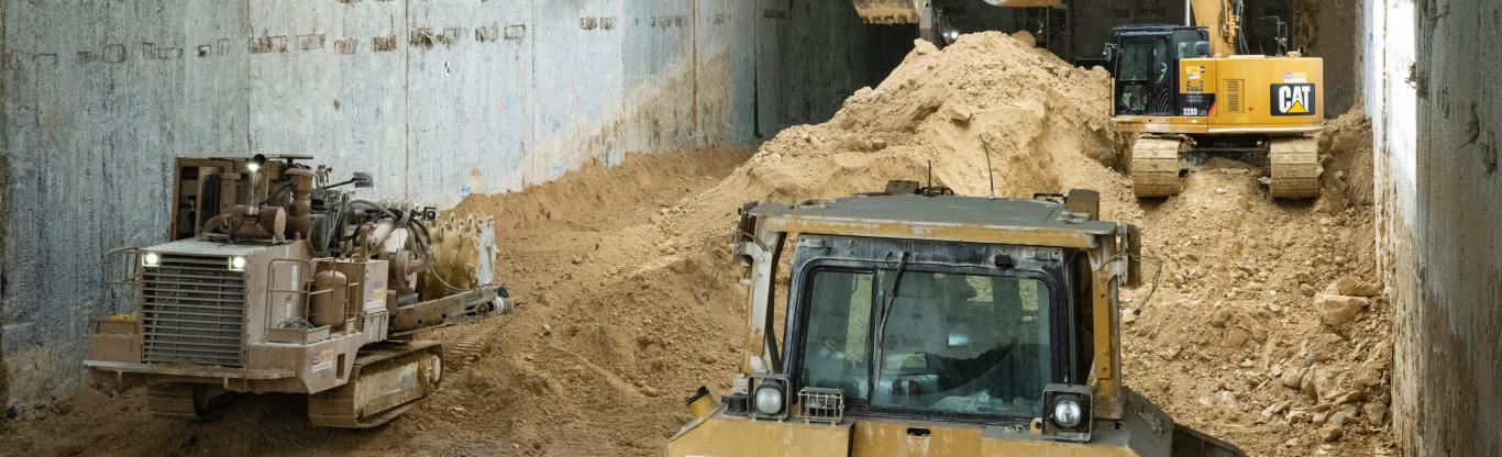 Photo du creusement de la gare Kremlin-Bicêtre Hôpital