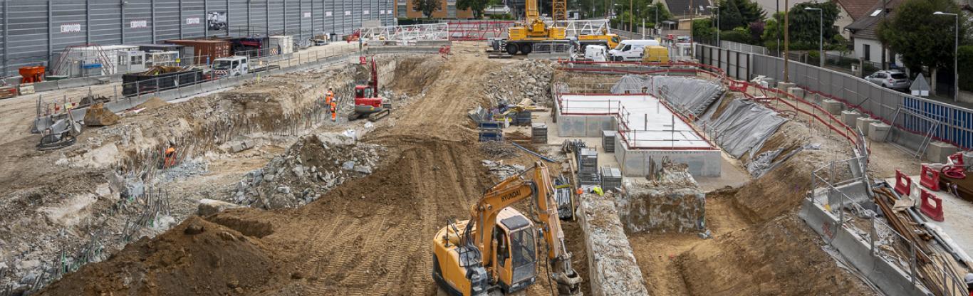 Photo du chantier de la future gare Chevilly Trois-Communes