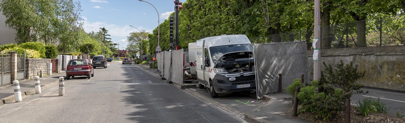 Photographie du chantier de l'ouvrage Petit le Roy rue du Lieutenant Petit-le-Roy, à Chevilly-Larue.