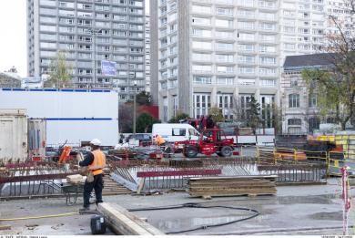 Photo du chantier de reconversion en interstation de l'arrière-gare d'Olympiades sur le site Tolbiac - Baudricourt