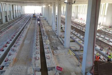 Photo des travaux du hall de maintenance du SMR de Morangis, en septembre 2020