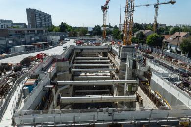Photo du chantier de la gare Chevilly Trois-Communes en mai 2020
