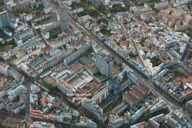 Vue aérienne du quartier des travaux de prolongement au sud de la ligne 14 dans le 13e arrondissement, pointant l'emplacement de l'école élémentaire de Choisy