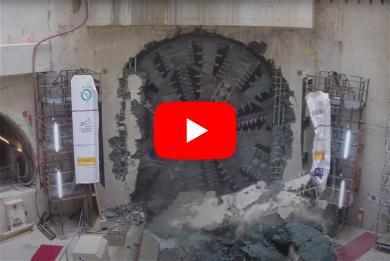 Image extraite de la vidéo du percement du tunnelier