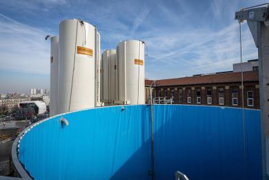 Photo d'une piscine à bentonite sur le chantier de la gare Kremlin-Bicêtre Hôpital
