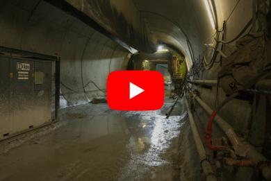 Photo du tunnel de raccordement à la ligne 14 en exploitation