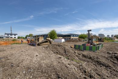 Photo du chantier de l'ouvrage de service Jeau-Prouvé.