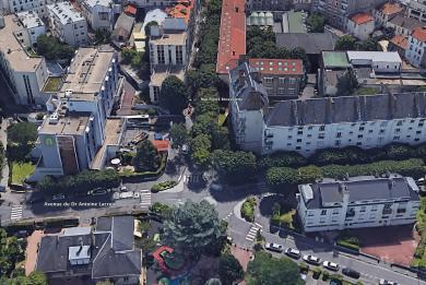 ue aérienne de la rue Pierre Brossolette et de l'avenue du Dr Antoine Lacroix concernées par le comblement des carrières