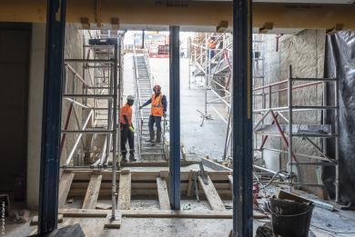 Photo des travaux souterrains de la future Gare Maison-Blanche Paris XIIIe