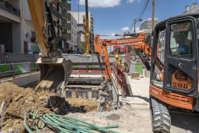 Photo du chantier en cours de la future gare Maison-Blanche Paris XIIIe (le nom de gare est provisoire).