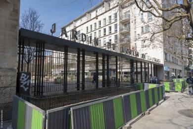 Photographie de l'entrée du Jardin du Moulin de la Pointe au 162 avenue d'Italie, Paris 13ème.