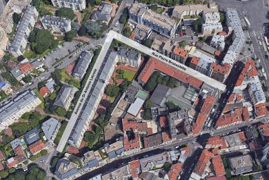 ue aérienne de la rue Pierre Brossolette et de l'avenue du Docteur Antoine Lacroix concernées par le comblement des carrières