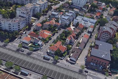 Vue aérienne de la rue Charles Richet au Kremlin Bicêtre